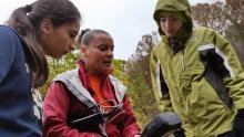 Jennifer Williams instructs State College Area High School students on a field trip to Black Moshannon State Park. As part of the TeenShale Network, the students learned how to collect water quality samples and data using scientific equipment. TeenShale is part of the Shale Network, an ongoing research initiative by the Earth and Environmental Systems Institute at Penn State and other institutions collecting data on water quality where natural gas drilling is taking place.